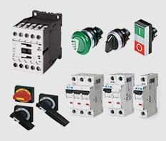 EATON: Botões, sinaleiros, contatores, relés térmicos, disjuntor caixa moldada, disjuntores, limitadores de corrente, inversores de frequência.