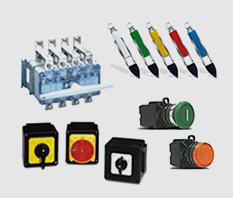 KRAUS & NAIMER: Chaves elétricas, contatores, chaves blindadas, pedaleiras, lâmpadas de sinalização por LEDs, relé de bloqueio, seccionadoras.
