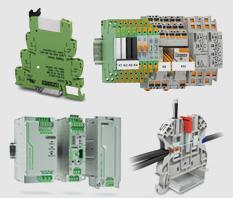 PHOENIX CONTACT: Bornes, fontes de alimentação, relés e optoacopladores, barramentos de chão de fábrica, varioface, tomadas industriais.